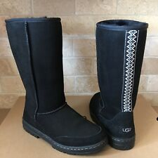 UGG ULTRA TALL REVIVAL TASMAN BRAID BLACK  SUEDE SHEEPSKIN BOOTS SIZE 9 WOMENS