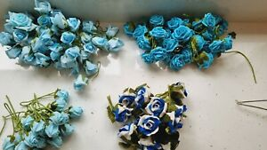 Artificial foam roses with stem in mix blue x 115 in total for wedding, bouquets