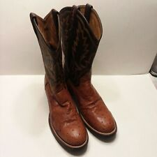 Ariat Men's 9.5B Tan/Black Ostrich Leather Western Boots