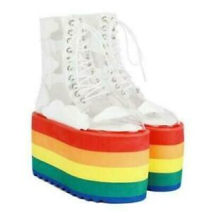 Womens New Transparent Lace Up Rainbow Platform Combat Boots Shoes Creepers DI@