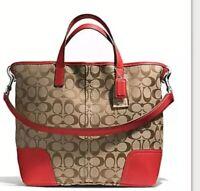 Coach Hadley Signature Duffle Shoulder Bag F28981 Khaki / Red