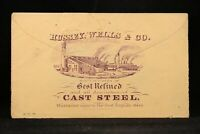 Ohio: Zanesville 1870s 3c Entire, Hussey Wells Steel Factory Advertising Cover
