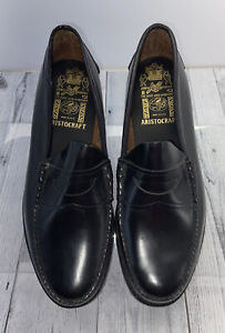 Johnston & Murphy Black Leather Aristocraft Penny Loafers Size 11.5 D/B-24-9001