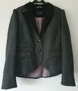 NEXT BLACK HIP LENGTH JACKET WOOL BLEND FULLY LINED   UK 12 BUTTON FASTENING