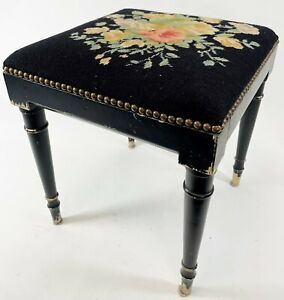 "Antique Vintage 17"" Rose Floral Needlepoint Foot Stool Vanity Seat Footstool"
