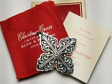 Sterling Silver 1978 Reed & Barton Christmas Cross Ornament Box Papers & Pouch