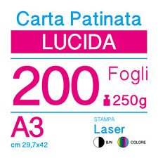 CARTA PATINATA LUCIDA A3 (cm 29,7x42) 250g PER STAMPANTI LASER - 200 FOGLI