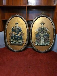 Pair Vintage Oriental Chinese Japanese Geisha Lady 3D Deep Framed Picture