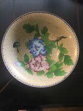 "Vintage Chinese Cloisonné Bowl Flowers Pink Blue Butterflies 9"""