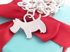 "Tiffany & Co Silver Scottie Dog Woof Puppy Charm Tag Bracelet 7.5"""
