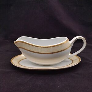 Waterside Fine China Gold and Cream Sauce Boat Gravy Jug With Saucer Plate Stand