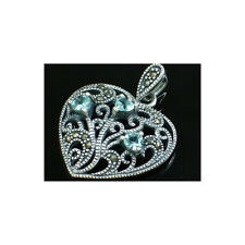 Kyanite Marcasite & 925 Sterling Silver Pendant