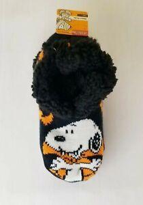 NEW Snoopy Sherpa Lined Slipper Socks Black & Orange Halloween Women's NWT