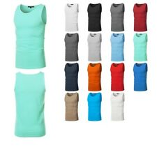 FashionOutfit Men's Basic Solid Sleeveless Round Neck Tank Top Various Colors