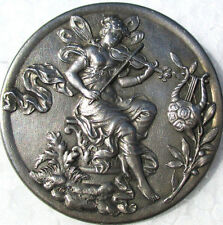 """1940s AUTHENTIC FRENCH METAL~XL~""""FAIRY PLAYS VIOLIN"""" VINTAGE PICTURE BUTTON"""
