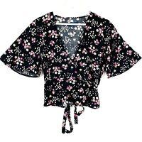 Princess Highway Women's Sz 10 Black Purple Floral Flare Sleeve Wrap Blouse Top