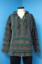 05451 Baja Green Mexican Hoodie Drug Rug Woven Skater Surfer Hippie Sweater Sz L