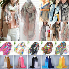 Retro Women Pashmina Soft Cotton Silk Wrap Shawl Scarf Long Voile Stole Scarves