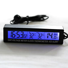 IN/OUT DIGITAL LCD AUTO CAR TEMPERATURE THERMOMETER CLOCK VOLTAGE METER MONITOR