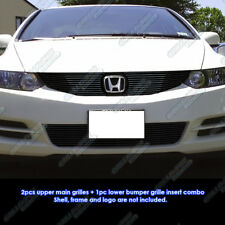 Fits 2009-2011 Honda Civic Coupe Black Billet Grille Grill Combo Insert