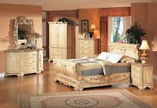 Delightful New Luxurious Formal Queen Size Bedroom Set 4pc Antique Beige Color W/Marble  Top