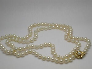 PEARLS 7MM FRESHWATER 14K YELLOW GOLD FLOWER CLASP 36 INCH STRAND NECKLACE