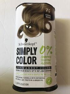 New Schwarzkopf Simply Color Permanent Hair Color 7.5 Almond Brown No Ammonia