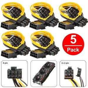(5-pack) PCI-E 8-pin to GPU 2x 6+2-pin Power Splitter Cable PCIE PCI Express
