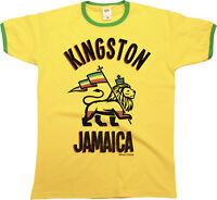 Kingston JAMAICA Mens Ringer T-Shirt Retro Birthday Gift