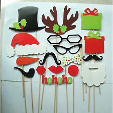 17PC Christmas XMAS Booth Santas hat beard paper Party Wedding Photograph PROP