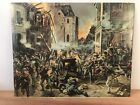 Rare WW1 French & Imperial German Print - Street Fight In Mulhausen
