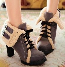 Block Heel Lace Up Synthetic Solid Boots for Women