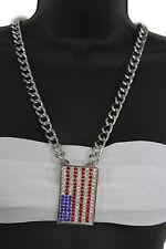 Women Fashion Necklace Silver Metal Chains Large USA Pendant American Falg Charm