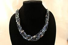 Adjustable Crochet Yarn Necklace Handmade ladder ribbon trellis blue silver