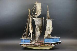 Großes Modellschiff Segelschiff Holz 2.Hälfte 19.Jhd (DK768)