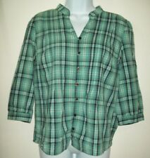 St. Johns Bay Womens Top Size P Large Blue Green Plaid Button Up Career Blouse