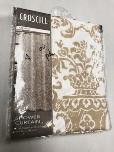 NEW Croscill Medici Wheat 100% Cotton Shower Curtain Tan White Floral 70x72