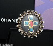 CHANEL 08P Huge XL *Gripoix Cross* Beautiful Round Brooch Pin +Crystals *RUNWAY*