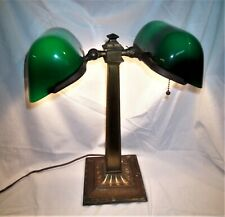 Antique Emeralite Double Student/Banker/Lawyer Desk Table Lamp Green Shades