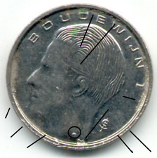 1 Franc Belgique Fauté, 1990, NL, débordement et surplus de métal.