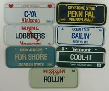 Vintage 1990 Post Cereal Mini Bicycle License Plate Set Lot of 7 States Premium