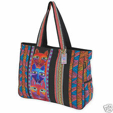 Laurel Burch Whiskered Cats Bright Stripe Oversize Shoulder Tote Canvas Bag New