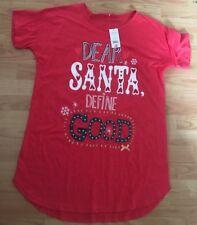 BNWT New Red Christmas Xmas Nightie Size 16-18 EU 44-46 - Dear Santa Define Good