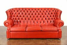 Red Tufted Leather Vintage Scandinavian Traditional Wingback Sofa