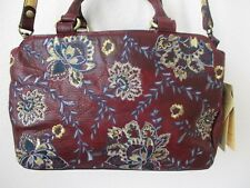 $199 Patricia Nash Angelin Red Embroidered Italy Leather Satchel Hanbag - Nwt