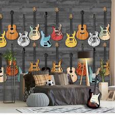 EUR 11,66/qm / Gitarren Wandbild / Vliestapete Mauer Gitarren Rock INK 7090