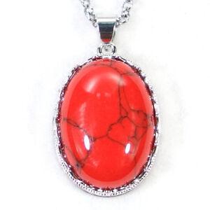 Natural Gemstone Reiki Chakra Crystal Healing Energy Stone Oval Pendant Necklace