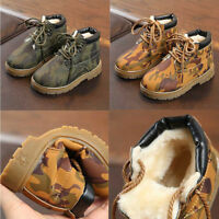 UK Fashion Kids Camouflage Toddler Boys Winter Snow Ankle Boots Shoes NE