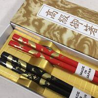 5 Pair Japanese Wooden Lacquer Chopsticks Hair Sticks Set Crane Sakura Dragonfly