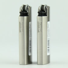 2pcs NEW FLAT METAL SILVER COVER CLIPPER LIGHTER!BRUSHED SILVER!MATTE!